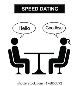 Man and woman speed dating cartoon isolated on white background