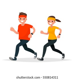 Man and woman in sportswear running on a white background. Vector illustration in a flat style