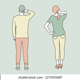 A man and a woman stand and stretch their backs. hand drawn style vector design illustrations.