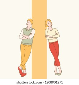 A man and a woman are standing on the wall. hand drawn style vector design illustrations.