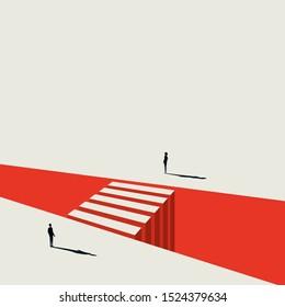 Mann und Frau stehen sich gegenüber dem Wirtschaftsvektorkonzept. Symbol der Zusammenarbeit, Teamarbeit, Herausforderung und Chance. Eps10 Illustration.
