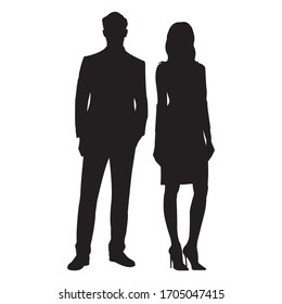 Man and Woman standing silhouette. Male and female business person figures. Vector illustration.