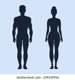 Man and woman standing vector silhouettes on the cyan background
