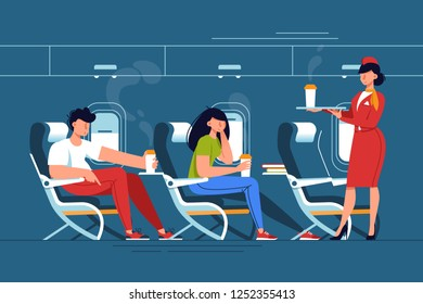 Man and woman with stewardess relax with drinks in thje plane. Concept people on vacation, journey, trip, flight. Vector illustration.