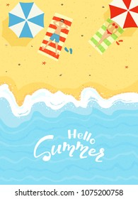 Man and woman sunbathing on the sand on the beach and text Hello Summer, illustration.