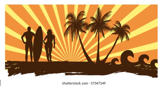 man and woman with a surf