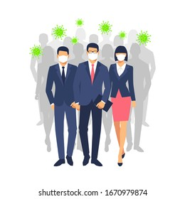 Man and woman with a surgical mask is among bacteria, influenza, flu, infectious disease. Epidemic, flu protection, avoiding virus. Businessman and businesswoman wearing medical mask. vector