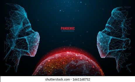 Man and woman in surgical masks looking look at each other on world or Earth planet background. Low poly wireframe digital vector illustration. Planet and viruses. Pandemic or epidemic concept.