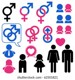 Man and woman symbol set relationship