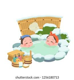 man & woman takes japanese an open-air bath at winter