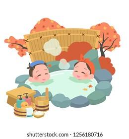 man & woman takes japanese an open-air bath at autumn