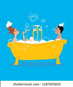 Man and woman taking  a bath in vintage style bathtub together. Vector