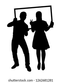 A man and a woman are taking picture with picture frame silhouette vector