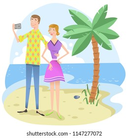 Man and woman taking selfie with cell phone on beach with palm tree (vector illustration)