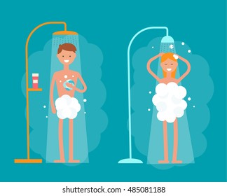 Man and woman taking shower in bathroom, vector illustration. Shower with running water. Flat modern vector illustration of people taking shower isolated.