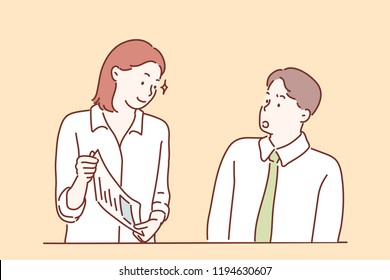 A man and a woman are talking about work in the company. hand drawn style vector design illustrations.
