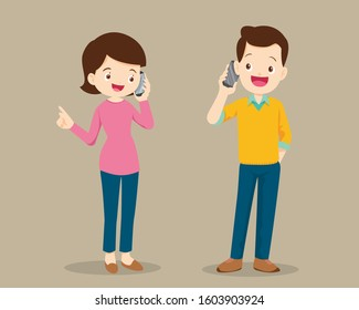 man and woman talking on cell phone.Dad and mom Speaking On The mobile phone.