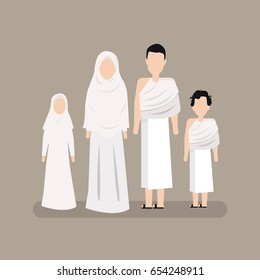 Man and Woman with Their Children Wearing Ihram Clothes Performing Hajj or Umrah Pilgrimage