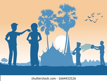 man and woman throw water each other in Song kran day famous festival of Thailand Loas Myanmar and Cambodia,new year,silhouette design,vector illustration