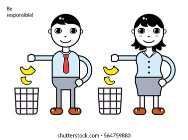 Man and woman throwing garbage in the trash bin. Warning sign vector illustration.