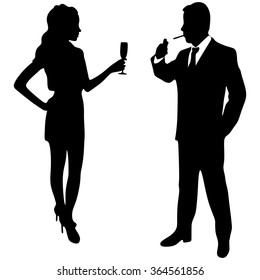 man and woman toast
