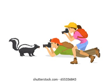 Man and woman tourist travelers photographers taking photo of skunk animals, isolated vector illustration