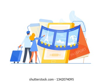 Man and woman tourists standing in front of giant smartphone and choosing trip or journey destination for their vacation, places to visit. Travel or touristic service. Flat vector illustration.