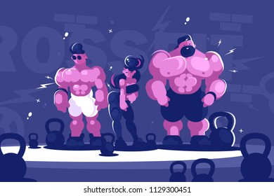 Man and woman training bodybuilding. Group of athletes with musculature. Vector illustration