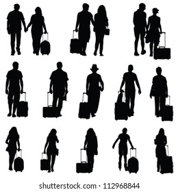 man and woman with travel bag black silhouette
