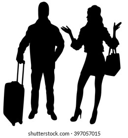 Man and woman traveling