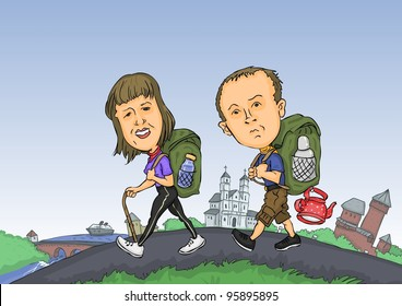 A man and a woman traveling around the world cartoon,