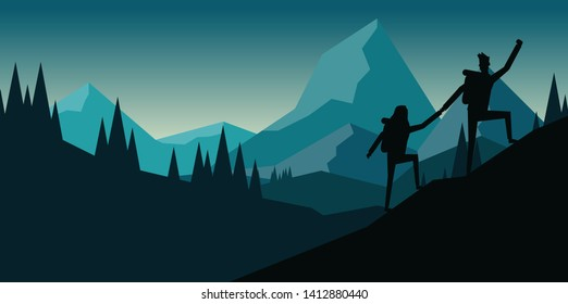 A man and a woman are trekking up to the hill together in silhouette design style with landscape view of the mountain range among the pine tree forest in the north area of the america