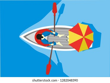 A man and a woman under an umbrella ride in a boat, top view. Lovers ' boat trip. Vector illustration