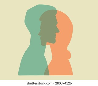 Man and woman. Vector portraits of a couple. Bold graphic style, intersecting transparent layers. Relationship between man and woman. Concept illustration, vector art, logo design, packaging.