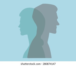 Man and woman. Vector silhouette portraits of a couple. Bold graphic style, intersecting transparent layers. Relationship, marriage, dating. Concept illustration, vector art, logo design, packaging.
