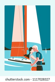 Man and woman in vest kissing on background of sea and sailing yacht. Glossy flat colors. Warm and cold, sea, Black hair, blond, love devotion travel meeting together sailing minimalism, he and she