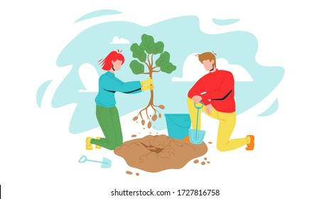 Man And Woman Volunteering Planting Tree Vector. Characters Boy And Girl Volunteers Gardening With Bucket And Shovel, Volonteering For Safe Environmental Ecology. Flat Cartoon Illustration