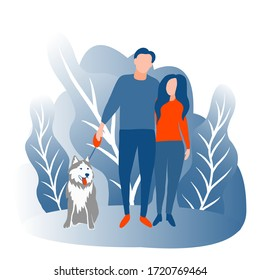 A man and a woman are walking along the street with a dog. People walk in the park. Vector illustration. Husky. The family spends time together. Park zone.