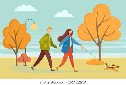 Man and woman walking with dog in autumn park. Couple activity day with domestic animal outdoor. Boyfriend and girlfriend wearing warm clothes going near trees and lamp, person in coat vector
