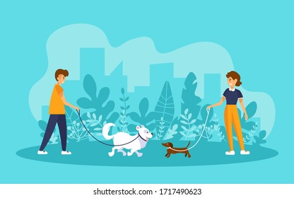 Man and woman walking in a park, holding their dogs on leashes and looking at each other. Vector illustration with human and pet characters in cartoon style.