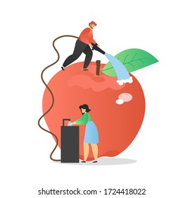 Man and woman washing hands and fresh apple thoroughly with water, vector flat illustration. Personal hand hygiene, fruit and vegetable cleaning to prevent respiratory coronavirus disease spread.