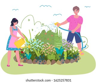 A man and a woman watering flowers in the garden from a garden watering can and a hose. Cute cartoon characters gardeners. Flat vector illustration.