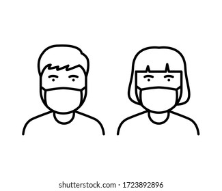 a man and woman wear a mask to avoid Covid-19 icon vector