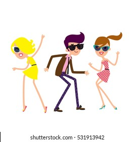 Man and woman wearing clothes in 60s and 70 s style and dancing. Clubbing people. Party vector illustration.