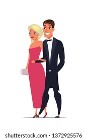 Man and woman wearing luxury outfits characters. Wife and husband at theater. Couple having date at opera, operetta. People at VIP event flat vector illustration. Celebrities at cinema premiere