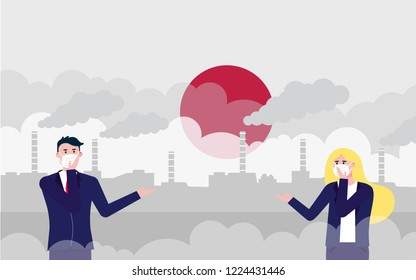 Man and woman wearing mask against smog. Fine dust, air pollution, industrial smog protection concept flat style design vector illustration. Industrial plant pipes, sun, huge clouds of smoke behind.