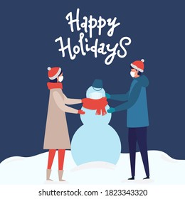 Man and woman wearing Medical masks to prevent virus Covid-19. They are making a snowman on snow landscape background. Modern people holiday design for xmas season. Merry Christmas happy new year winter illustration