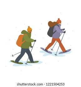 man and woman winter snowshoeing isolated vector cartoon illustration scene