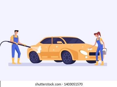 Man woman workers employee characters washing car. Carwash service concept. Vector flat graphic design cartoon
