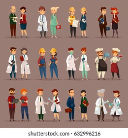 Man and woman workers for many professions. Doctor psychologist and nurse, builder and engineers, accountant and financial employee, radiologist and dentist, chef and chemist. Job and staff theme